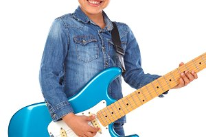 Latin child with electric guitar