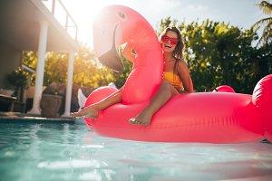 Woman having fun on an inflatable
