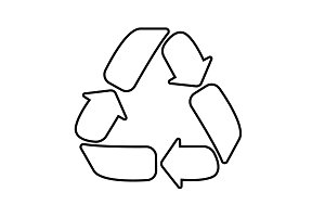 Recycle sign isolated, line icon