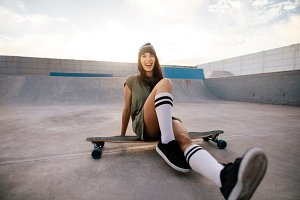 Female skater having fun