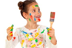 Funny girl with face full of paint
