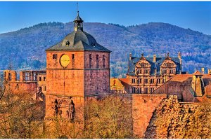 Ruins of Heidelberg Castle in Baden-Wurttemberg state of Germany