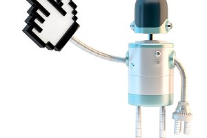 Robot with pointing finger. 3D illus