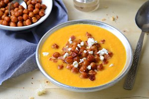 Pumpkin Soup with Chickpea, Bacon and Feta