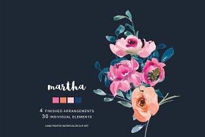 Watercolor Soft Flowers Clipart