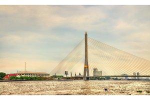 Rama VIII Bridge above the Chao Phraya river in Bangkok, Thailand