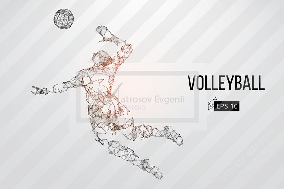 Silhouettes Volleyball Players Set
