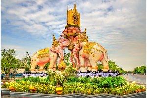 Pink Elephant Statue near Grand Palace in Bangkok, Thailand