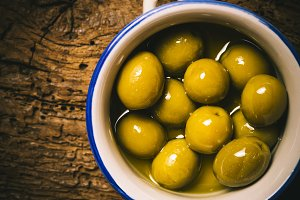 Green salted olives