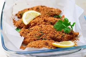 Baked in Bread Crumbs Chicken Fillet