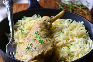 Braised Rabbit Leg in Creamy Mustard Sauce with Homemade Noodles