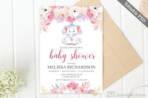 Lilac Girl Baby Shower Invitation