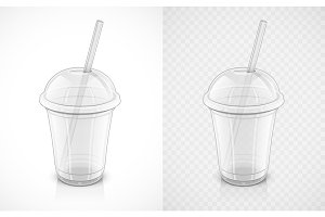 Transparent plastic cup. Fast-food pack