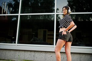 girl with big headphones