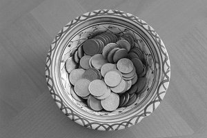 Euro Coins Detail in Black and White
