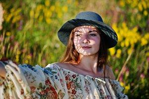 brunette girl on hat