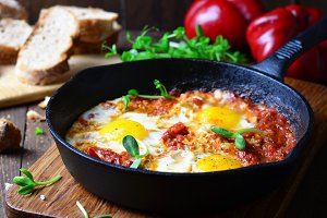 Shakshuka, Fried Eggs with Tomato Sauce in a Pan