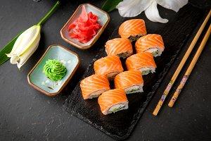 Sushi roll Philadelphia with salmon