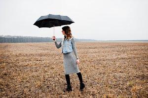 girl with black umbrella