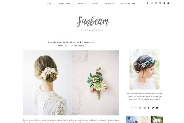 WordPress Blog Themes: Marvolie Design - Sunbeam - Responsive Wordpress Theme