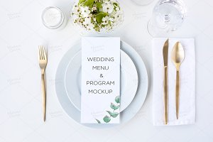 Wedding Menu Mockup 4x9.25""
