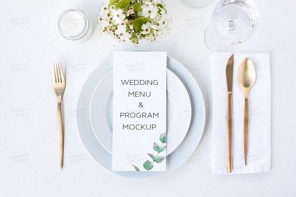Wedding Menu Mockup 4x9.25