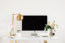 Girlboss Desk with iMac & Accessorie