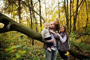 Happy caucasian family