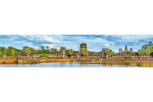 Panorama of Angkor Wat across the moat, a UNESCO world heritage site in Cambodia