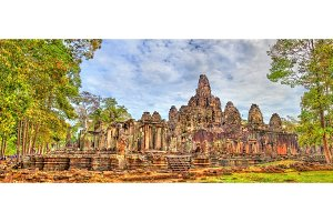 The Bayon, a Khmer temple at Angkor in Cambodia, Southeast Asia