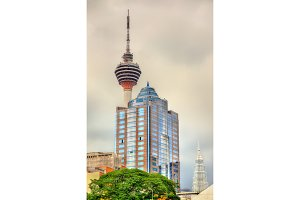 Modern architecture with the TV tower in Kuala Lumpur, Malaysia