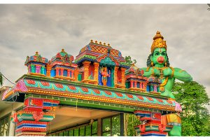 Hindu temple and the statue of Hanuman at Ramayana Cave, Batu Caves, Kuala Lumpur
