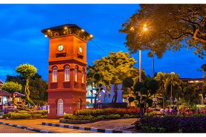 The Red Clock Tower in Malacca, Malaysia