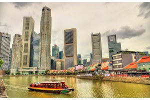 Heritage boat on the Singapore River