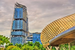 Esplanade Theaters and other buildings in Singapore city centre