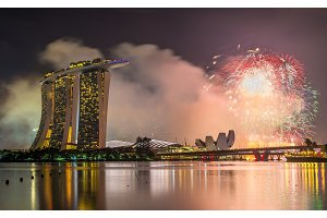 New Year fireworks above Marina Bay in Singapore