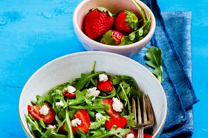 Strawberry arugula feta salad