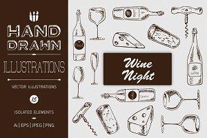 Hand Drawn Wine Night Illustrations