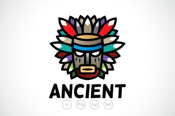 Ancient Tribal Mask Logo Template