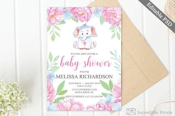 Elephant Baby Shower Invite