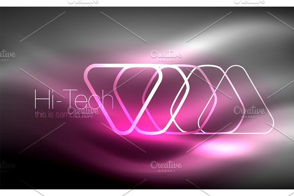 Glowing Vector Triangle Geometric Shapes In Dark Space