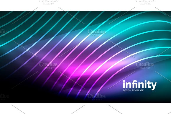 Abstract Wave On Dark Background Shiny Glowing Neon Digital Background Template