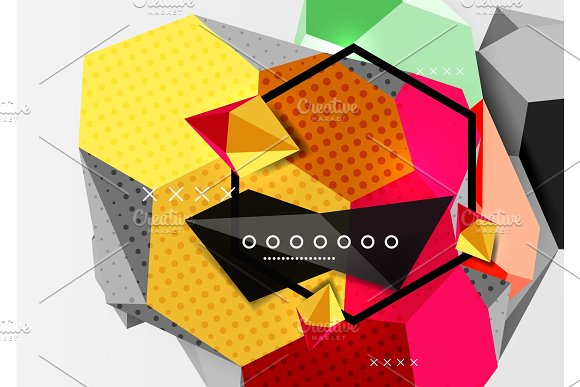 Color 3D Geometric Composition Poster