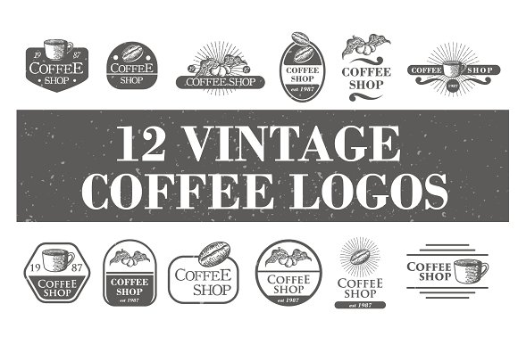 12 Vintage Coffee Logos Badge