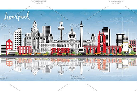 Liverpool Skyline With Color