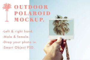 Outdoor Polaroid Mockup x 2