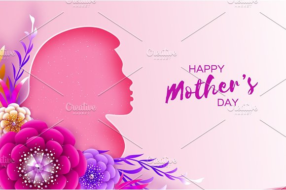 Silhouette Of A Mother In Paper Cut Style Happy Mothers Day Celebration Bright Origami Flowers Spring Blossom On Pink Space For Text