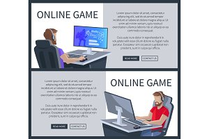 Online Gaming Poster with Man Playing Cyber Games