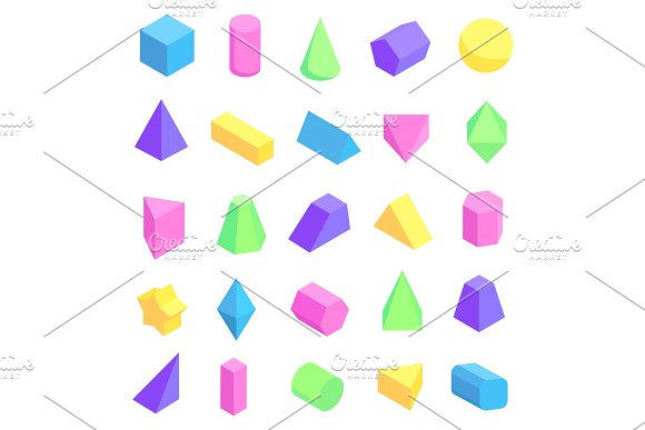 Multicolored Geometric Shapes Vector Illustration