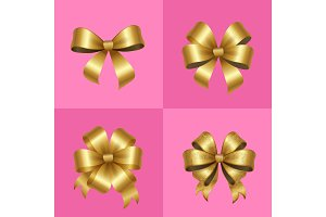 Gold Decorative Bows Knots Set Vector Illustration